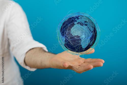 Fototapeta Hand Holding World digital 3d. obraz