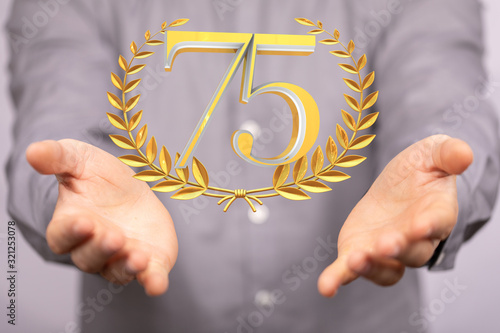 Fototapeta 75 Digital number Years Anniversary 3d background. obraz