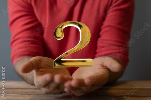 Fototapeta Second or two  Years award Digital number award Anniversary 3d. obraz