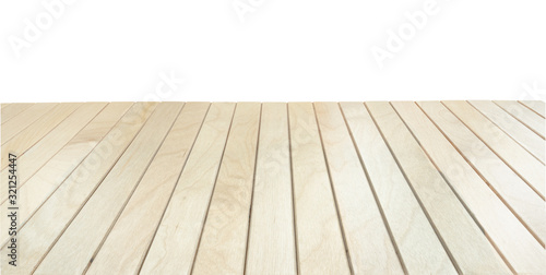 Fototapeta Wooden deck, planks terrace or table on white obraz
