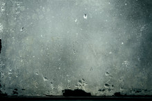 Dirty Glass With Water Vapor Condensation Drops, Grunge Background