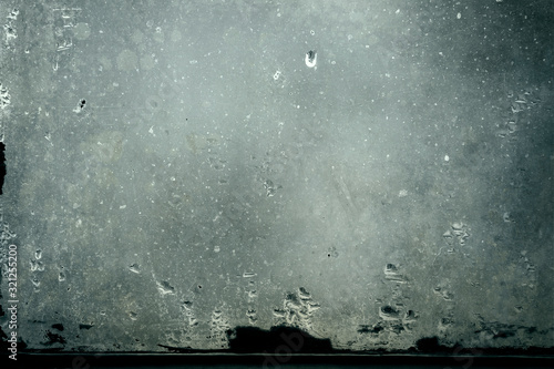 Cuadros en Lienzo dirty glass with water vapor condensation drops, grunge background