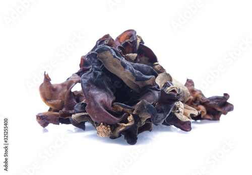 Dried chinese black fungus. Jelly ear  isolated Wallpaper Mural