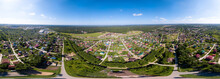 Panorama Aerial View New Development Neighborhood In Novosibirsk, Russia In Morning Summer With Colorful Leaves. A City In Russian Counties. Full VR 360 Degree Aerial Panorama Seamless Spherical.