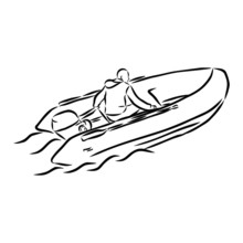 Man In An Inflatable Boat, Vec...