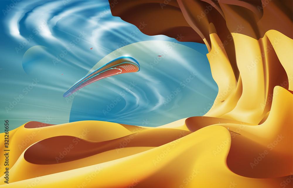 Fototapeta Desert Scenery Art in Vector