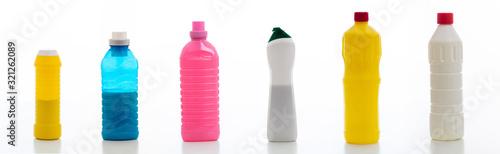 Obraz na plátne Cleaning supplies bottles set isolated against white background.