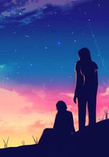 Artistic Digital Paint Rendering Illustration Of Two Friends Bonding