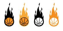Basketball Fire Ball Vector Ic...