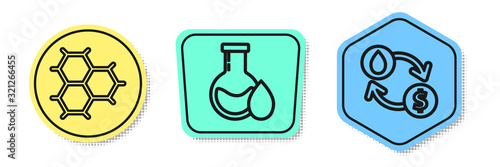 Set line Chemical formula consisting of benzene rings, Oil petrol test tube and Oil exchange, water transfer, convert Canvas Print