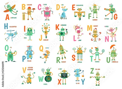 Photo Cartoon robots alphabet
