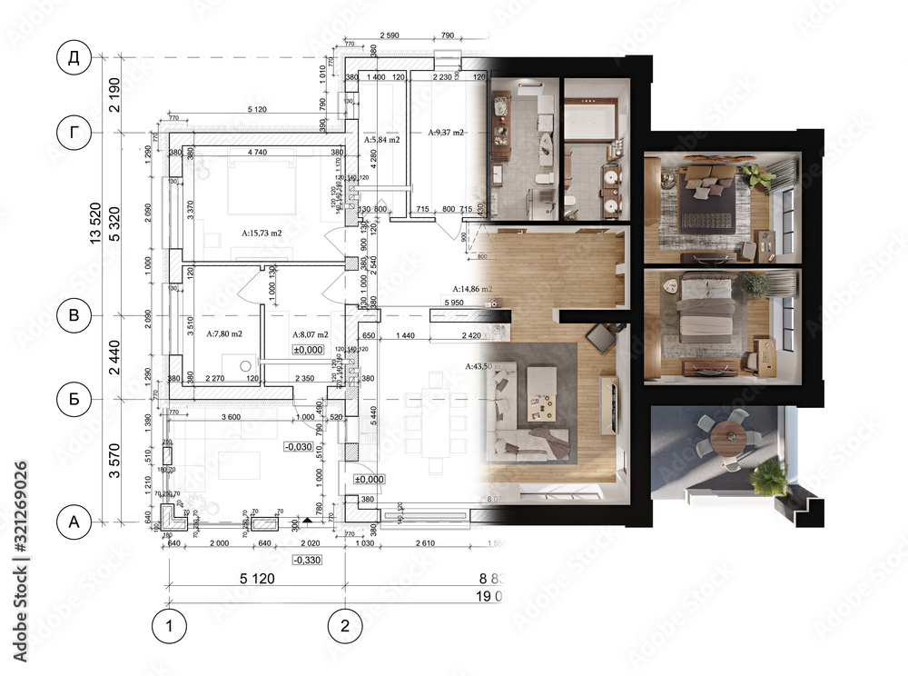 Fototapeta 3d rendering of a modern private house located on the architectural technical drawing