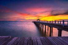 Landscape Of Wooded Bridge In ...