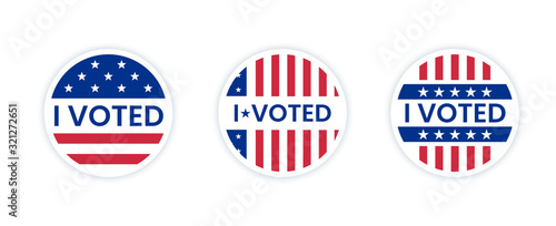 I voted sticker with us american flag. Canvas-taulu