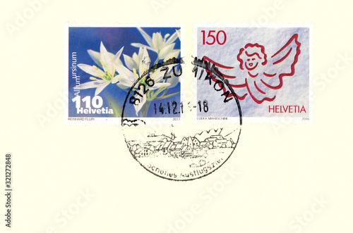 Fényképezés Briefmarke stamp Helvetia Schweiz Engel Blume flower Plant Pflanze Allium ursinu