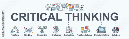 Photo Critical thinking banner web icon for problem solving, creative, thinking, reasoning, analyzing, decision making and solution