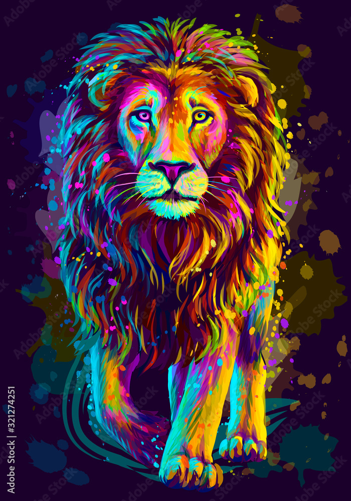 Fototapeta Lion. Artistic, neon color, abstract portrait of a lion walking forward on a dark blue background with watercolor splashes in the style of pop art.