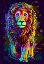 Lion. Artistic, Neon Color, Ab...