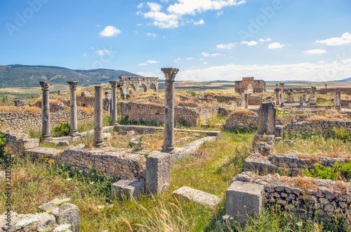 Photo The ruins of the houses of the aristocracy of Volubilis. Morocco