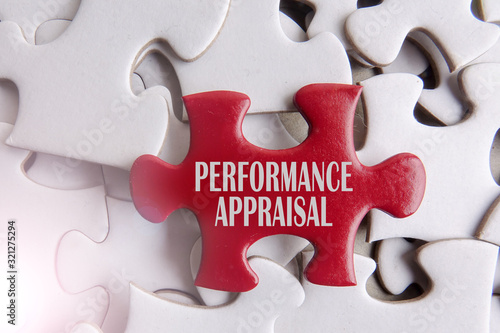 Red puzzle on a white puzzle background and words of PERFORMANCE APPRAISAL Canvas Print