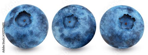 Fototapeta Set of blueberry isolated on white background obraz