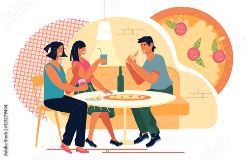Obraz Friends meeting in Pizzeria or fast food restaurant and enjoying dinner and communication. Italian cuisine cafe or street cafeteria scene. Leisure and recreation concept. Flat vector illustration. - fototapety do salonu