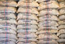 Stack Of Burlap Sacks Colombia Coffee, Backdrop, Template.