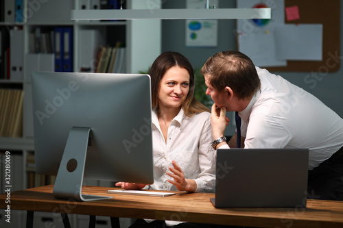 Woman communicates with man about doing work Canvas Print