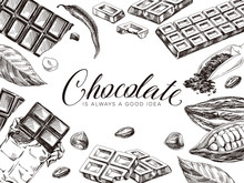 Border Composition Of Chocolate And Cocoa, Hand Drawn Vector Illustration.
