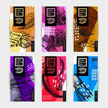 Chocolate Packaging Labels Set, Hand Drawn Vector Illustration.