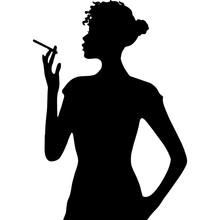 African Amercian Woman Smoking...