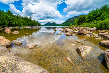 View Of The Bubble Mountains And Jordon Pond In Acadia National Park, Maine