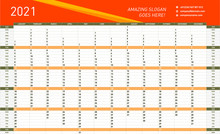 Yearly Wall Calendar Planner Template For 2021 Year. Vector Design Print
