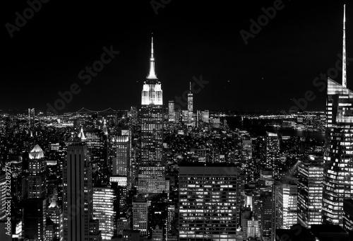 New York Skyline Nacht Aussichtsplattform Panorama Hochhäuser Wolkenkratzer Manh Canvas Print