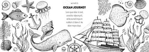 Underwater world hand drawn collection Canvas Print