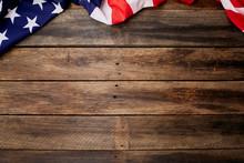 American Flag On Old Brown Woo...