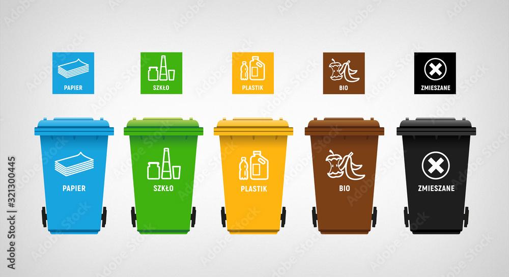 Fototapeta garbage can & vector icons segregation 02