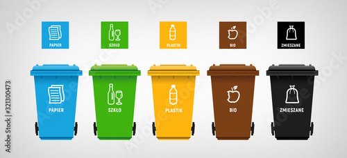 garbage can & vector icons segregation Fototapet
