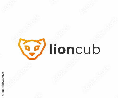 African lion cub logo design Wallpaper Mural