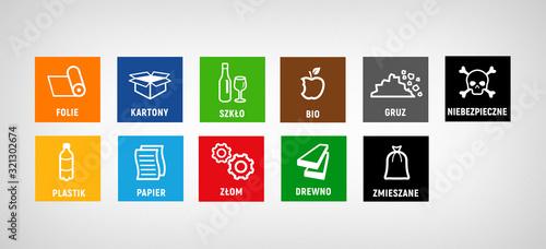 Fotografia, Obraz segregation of garbage different factions - icon set