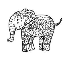 Hand Drawn Elephant Coloring Page. Coloring Book Page For Adults, Joy To Order Children And Adult Colorist. Black And White Background. Vector