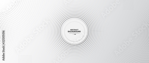 Fototapeta Gray and white abstract background with halftone circle dotted.  obraz