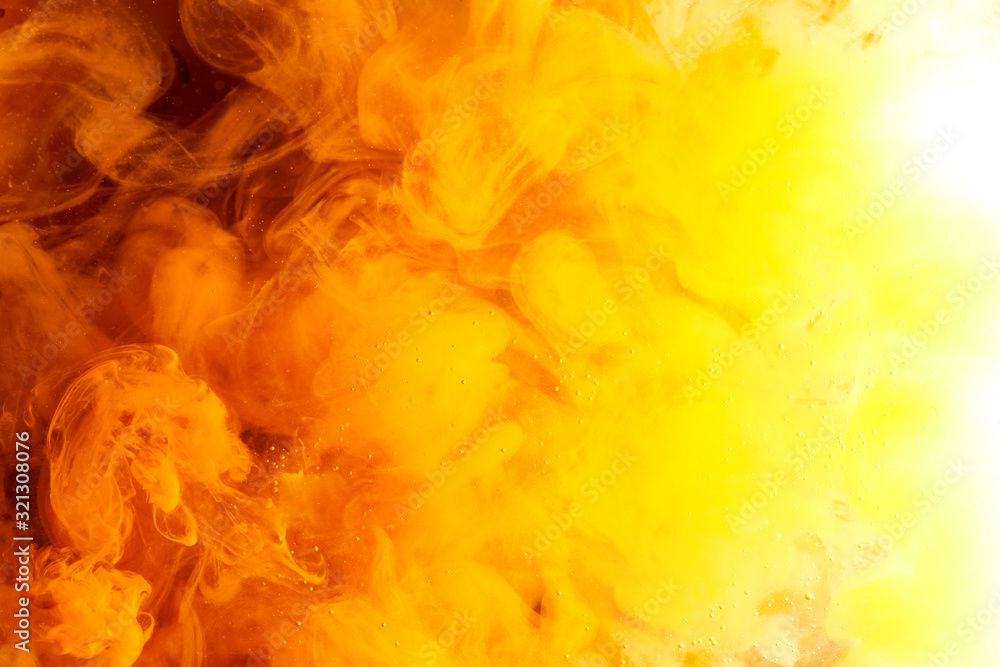 Fototapeta Abstract colorful yellow orange fog background, vibrant puffs of smoke and peach clouds