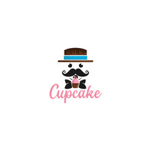 Cowboy Cupcake Cook Bakery Breakfast  Logo Vector Illustration