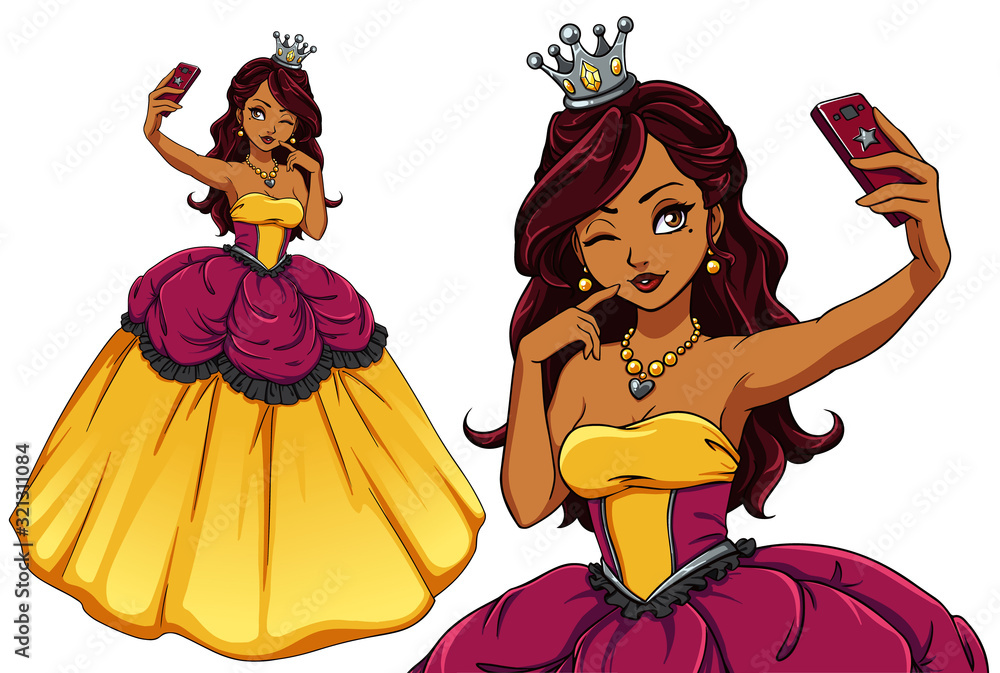 Pretty cartoon princess taking selfie. Brunette girl wearing yellow royal dress and silver crown.