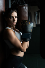 Boxing Woman Posing With Punch...