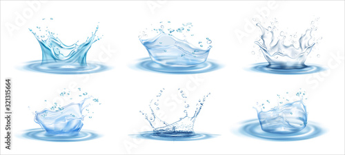 Fototapeta Water splash effect on white background with ripple and reflection. Realistic vector Illustration. obraz