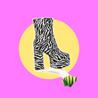 canvas print picture - Contemporary art collage.  Fashion Zebra Shoes. Trendy vibes