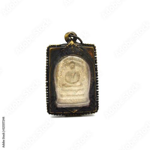 Photo religious Buddha Amulet Pendant - small thai asian buddha magic amulet image use