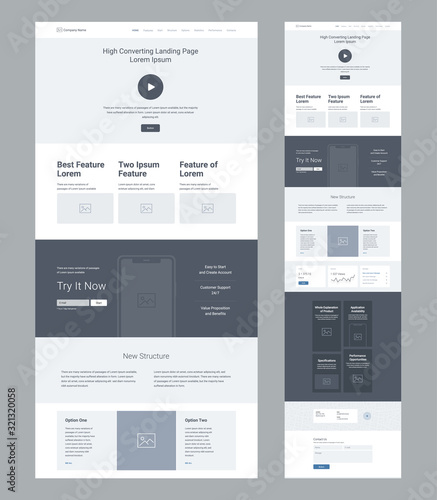 Fototapeta Landing page wireframe design for business. One page website layout template. Modern responsive design. Ux ui website: features, call to action, new structure, statistics, options, blog, contacts. obraz